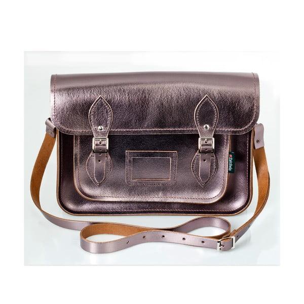 Kožená kabelka Satchel 29 cm, cínová