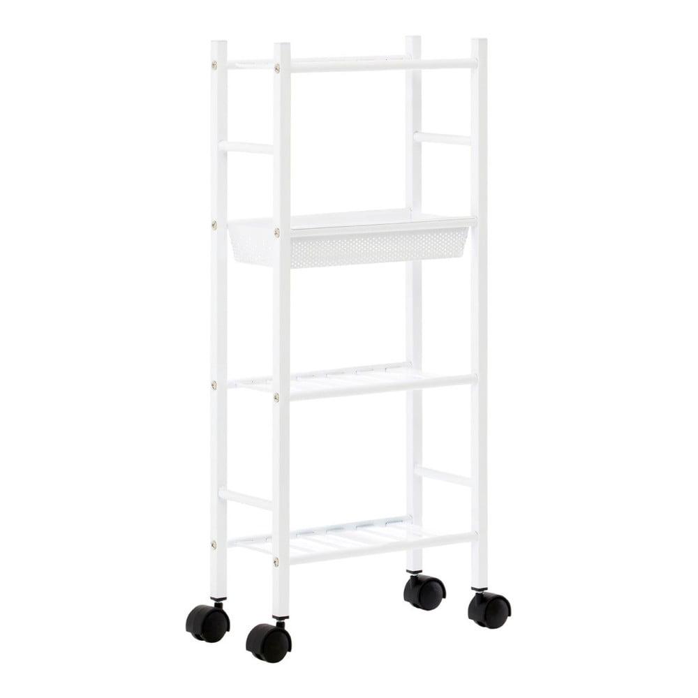 Bílý úložný vozík na kolečkách se 4 košíky Premier Housewares