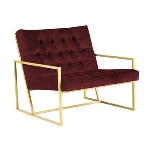 Fotoliu Mazzini Sofas BONO cu structură metalică, auriu - vișiniu