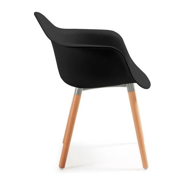 Set 2 scaune cu picioare din lemn și cotiere La Forma Kenna, negru