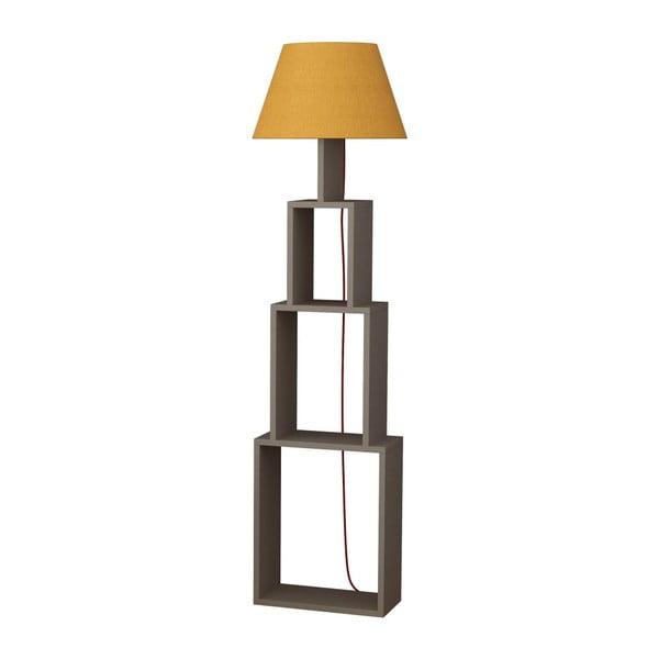 Volně stojící lampa se žlutým stínítkem Homitis Tower