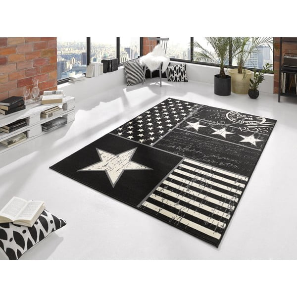 Koberec City & Mix - černá vlajka, 140x200 cm