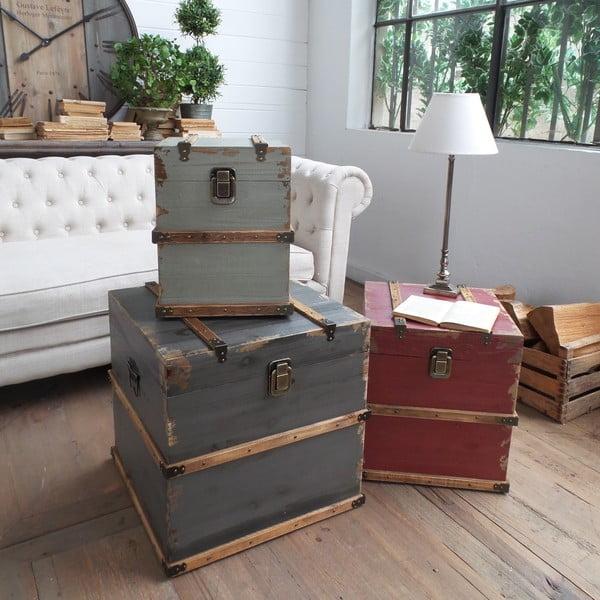 Sada 3 odkládacích stolků/dekorativních kufrů Trunks
