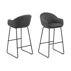 Sada 2 tmavě šedých barových židlí Actona Ally