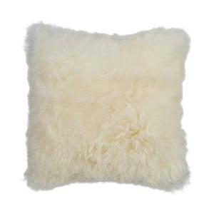 Oboustranný kožešinový polštář s dlouhým chlupem White, 45x45 cm