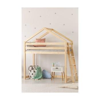 Cadru pat supraetajat din lemn de pin, în formă de căsuță Adeko Mila DMPBA, 70 x 140 cm de la Adeko