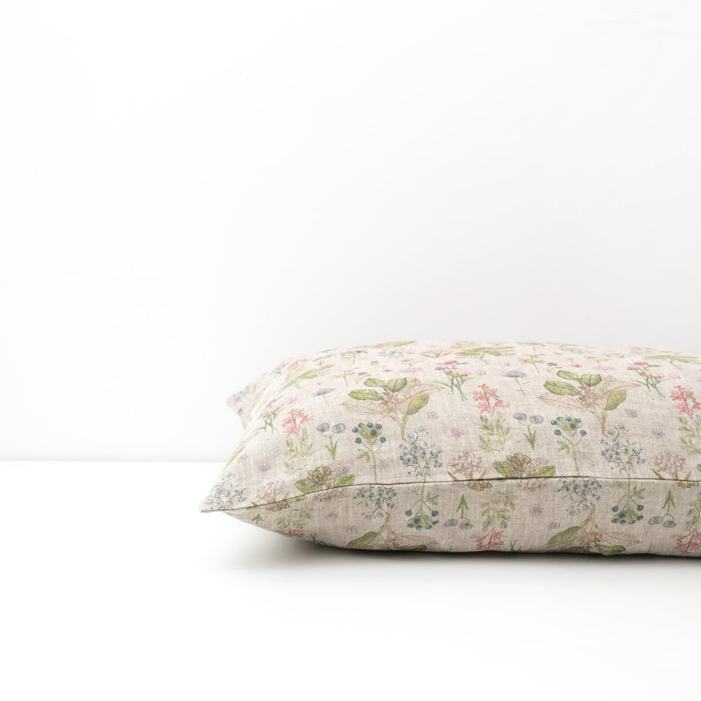 Dětský béžový lněný povlak na polštář Linen Tales Botany, 40 x 45 cm