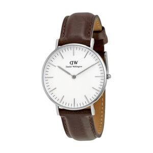 Dámské hodinky s hnědým páskem Daniel Wellington Bristol Silver, ⌀36mm