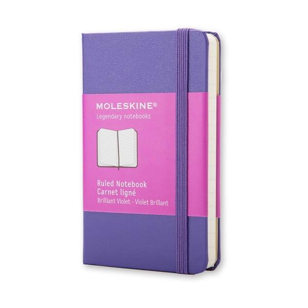 Fialový zápisník Moleskine XS, linkovaný