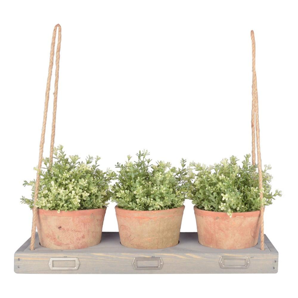 Závěsná polička z borovicového dřeva na květiny Esschert Design, šířka 53,3 cm