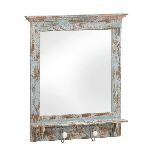 Zrcadlo s háčky Antique, modrá patina