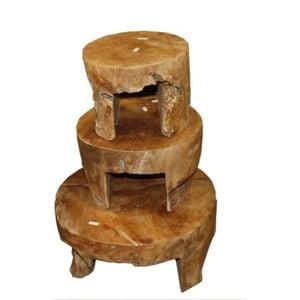Sada 3 konferenčních stolků  z teakového dřeva HSM collection Mara,⌀50cm