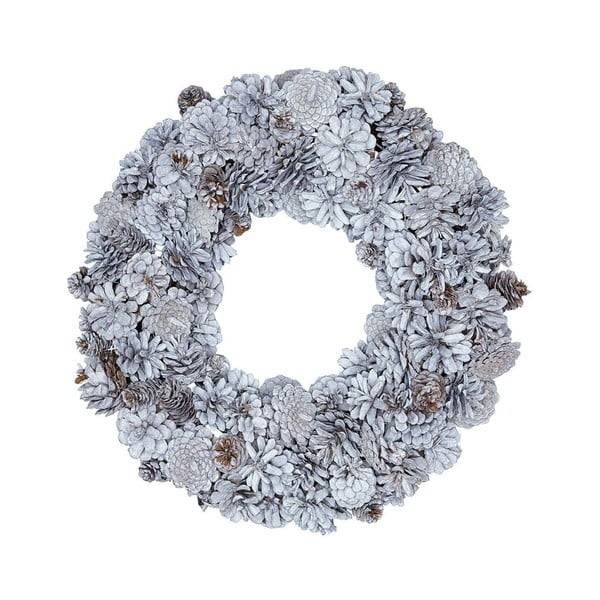 Bílý adventní věnec s šiškami Green Gate Wreath Hailey, ø31cm