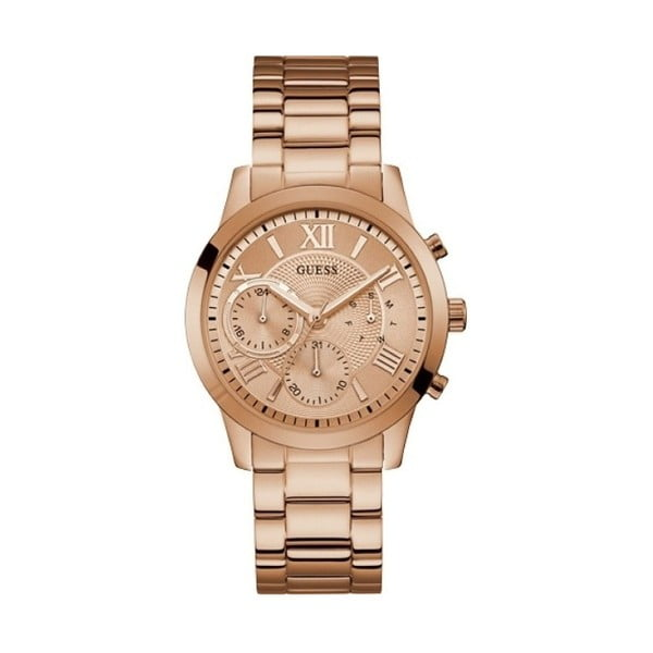 Dámské hodinky v růžovozlaté barvě s páskem z nerezové oceli Guess W1070L3