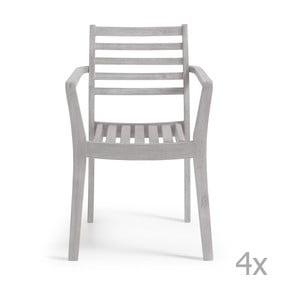 Set 4 scaune La Forma Berkeley, gri deschis