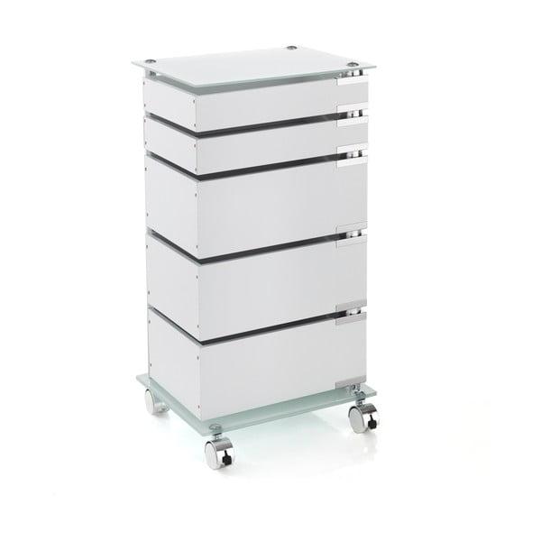Biała szafka na kółkach z 5 szufladami Tomasucci Bobo