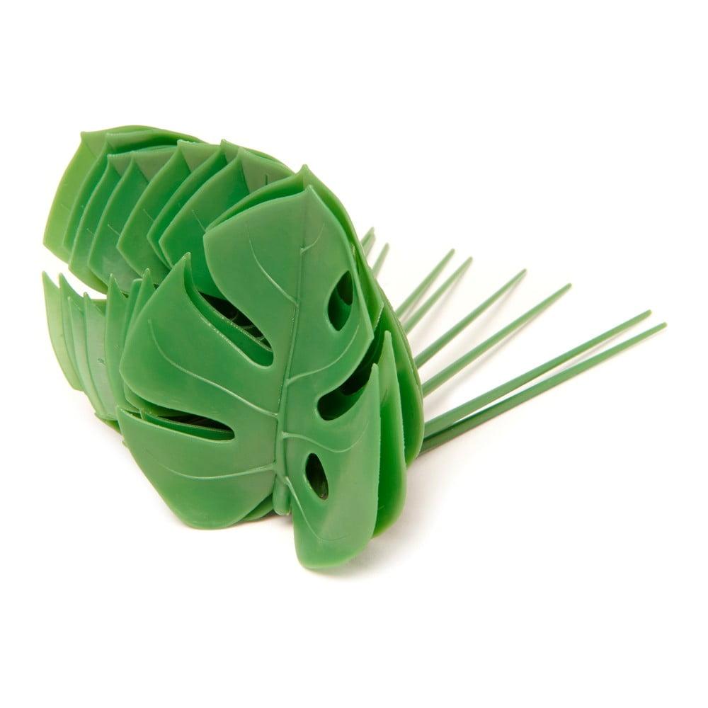 Sada 20 zelených napichovátek Kikkerland Monstera Leaf