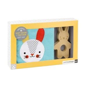 Set textilní knížky a dřevěného kousátka Petit collage Rabbit