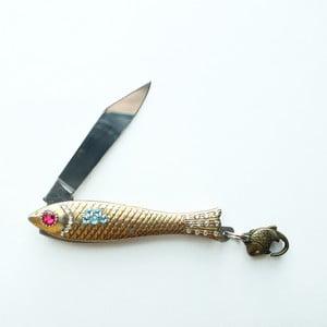 Český nožík rybička, zlatý s barevnými krystaly