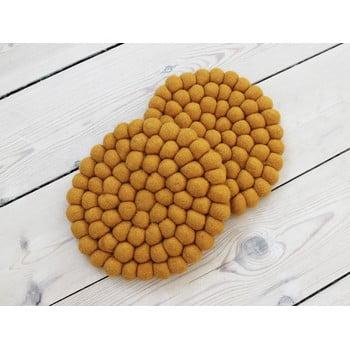 Suport pahar, cu bile din lână Wooldot Ball Coaster, ⌀ 20 cm, galben muștar imagine