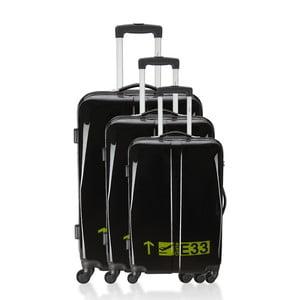 Sada 3 černých cestovních kufrů na kolečkách Hero Cadenas