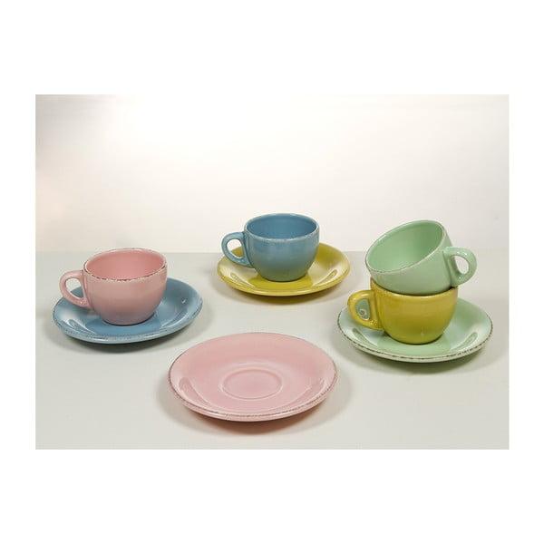 Set 6 cești cu farfurie din ceramică Santiago Pons, albastru