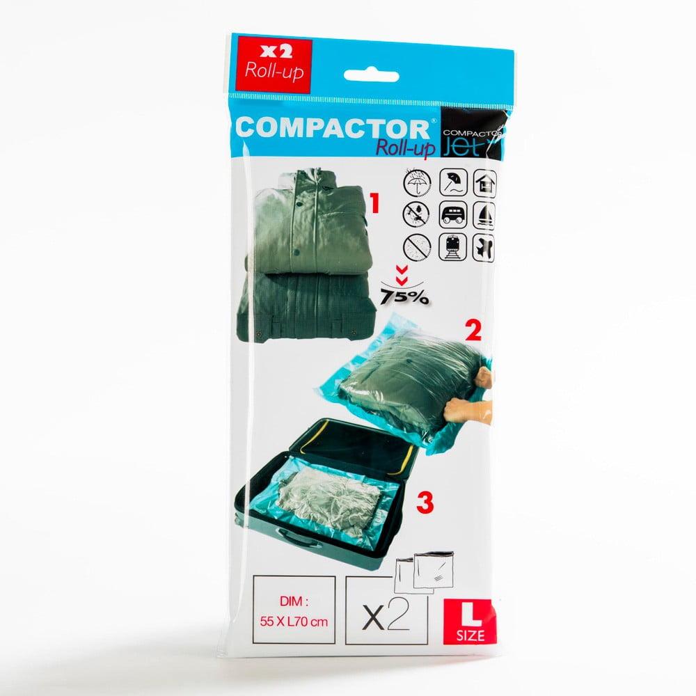 Sada 2 modrých vakuových obalů na oblečení Compactor, 100x60cm