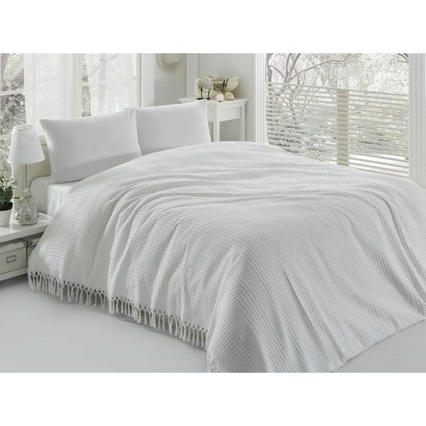 Cuvertură subțire pentru pat de o persoană Pique White, 180 x 240 cm