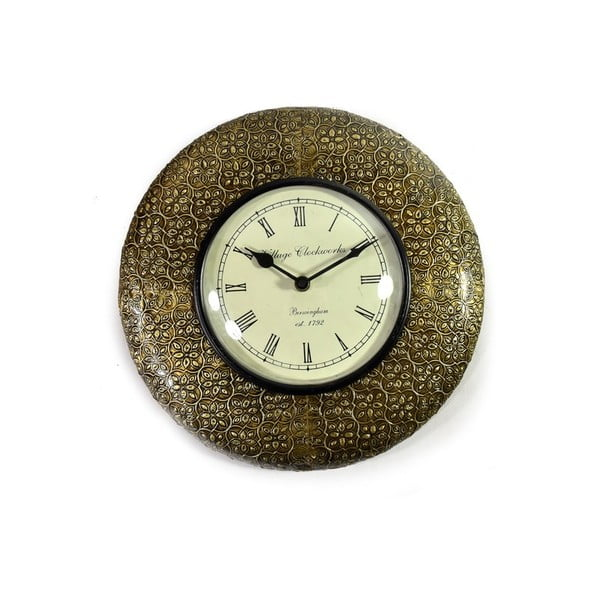 Nástěnné hodiny z tepaného kovu Bihár, 32 cm