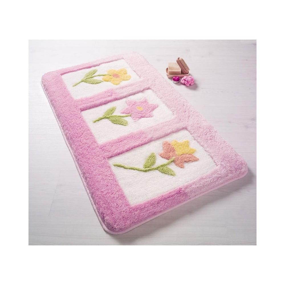Růžová koupelnová předložka Confetti Bathmats Anjelik, 70 x 120 cm