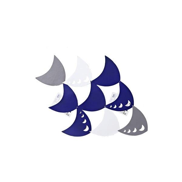Plstěný závěsný kapsář Měsíc, modrá/bílá/šedá