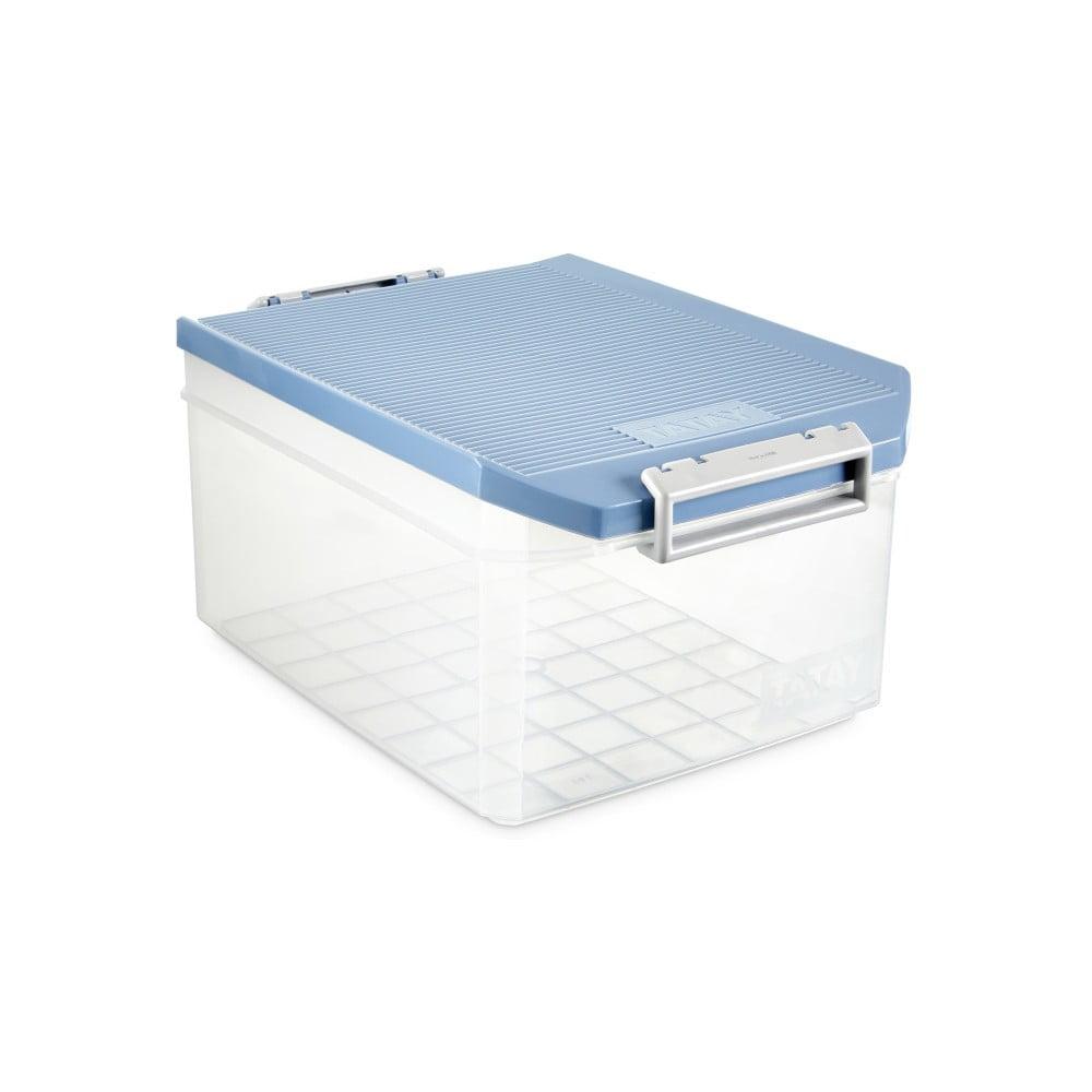 Průhledný úložný box s modrým víkem Ta-Tay Storage Box, 14 l