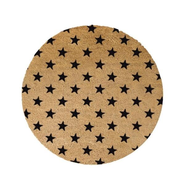 Černá kulatá rohožka z přírodního kokosového vlákna Artsy Doormats Stars, ⌀70cm