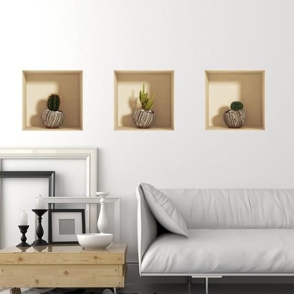 Sada 3 samolepek s 3D efektem Ambiance Vases