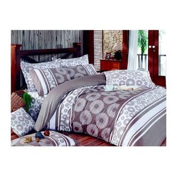 Lenjerie de pat cu cearșaf Sema Brown, 200 x 220 cm de la Pearl Home