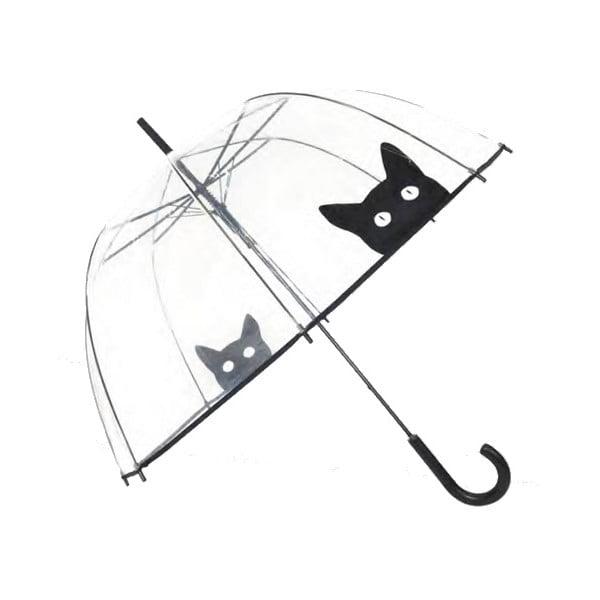 Transparentní holový deštník Ambiance Birdcage Cat, ⌀84cm