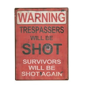 Cedule Warning! Trespassers will, 35x26 cm