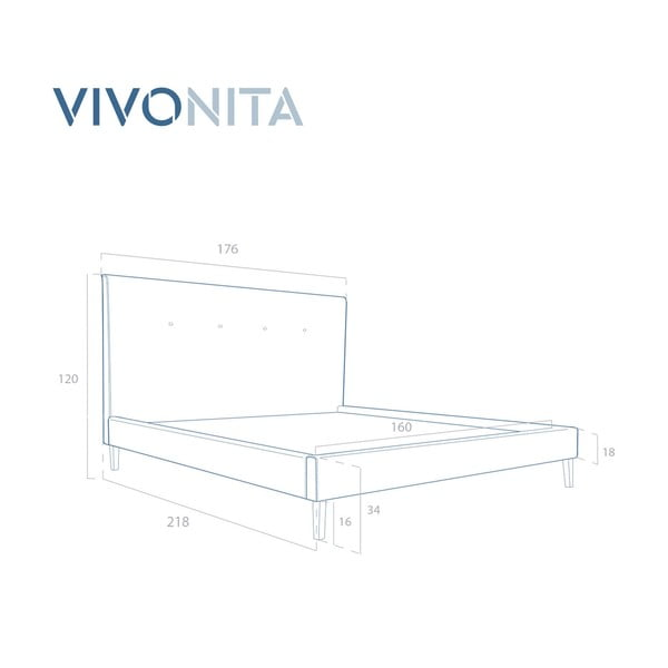 Tmavě morá postel Vivonita Kent Linen, 200x160cm