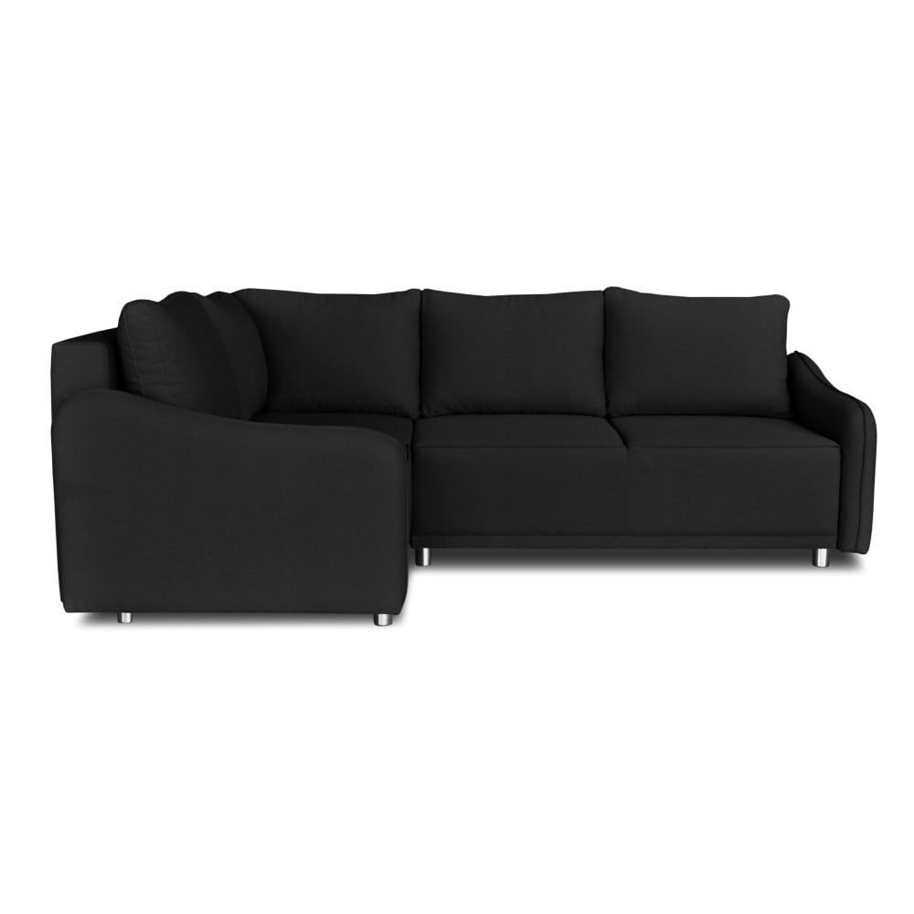 Černá rohová rozkládací pohovka Windsor & Co. Sofas Delta, levý roh