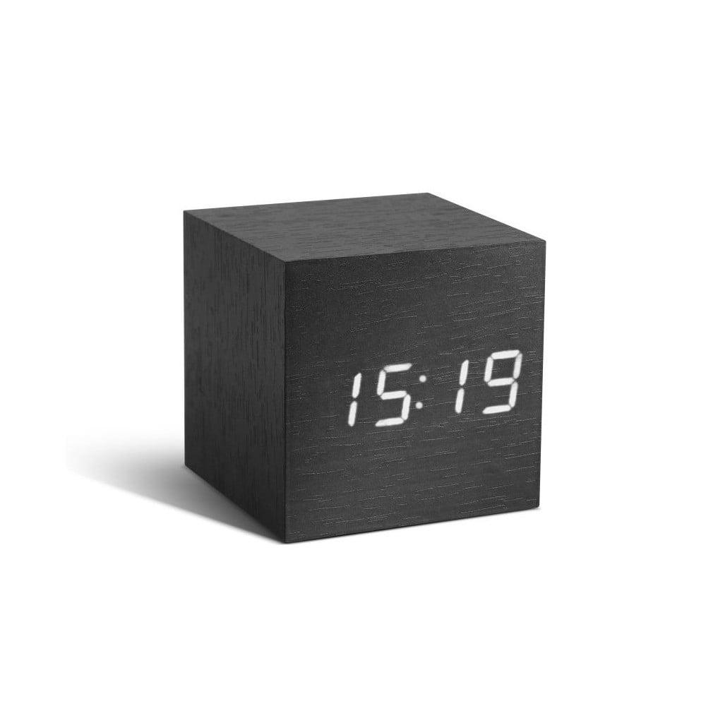 Černý budík s bílým LED displejem Gingko Cube Click Clock