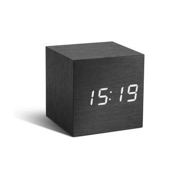 Ceas deșteptător cu LED Gingko Cube Click Clock, negru - alb