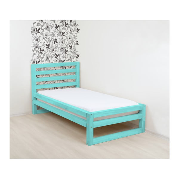 Tyrkysovomodrá drevená jednolôžková posteľ Benlemi DeLuxe, 200 × 120 cm