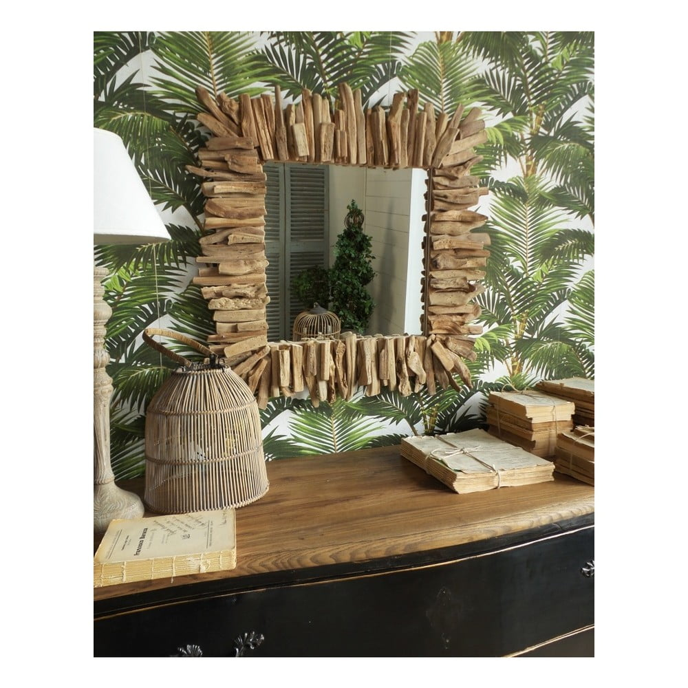 Zrcadlo s dřevěným rámem Orchidea Milano Natural, 70 x 70 cm