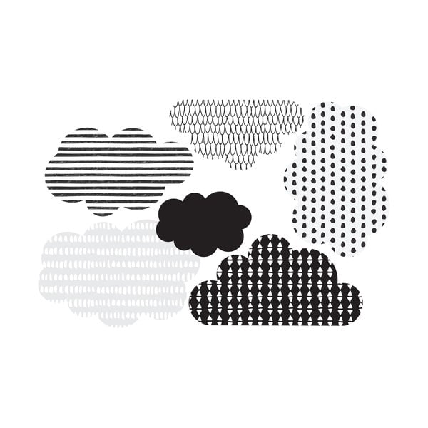 Zestaw 6 naklejek ściennych Dekornik Scandi clouds