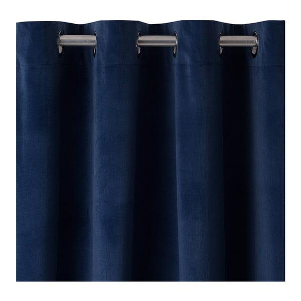 Tmavě modrý závěs DecoKing Pierre, 140 x 270 cm