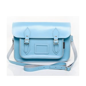 Kožená kabelka Satchel 29 cm, pastelově modrá