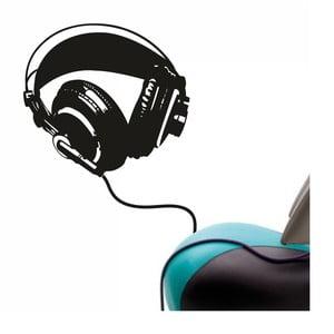 Samolepka na stěnu Wallvinil Headphones bass, černá