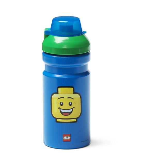 Niebieska butelka na wodę z zieloną zakrętką LEGO® Iconic, 390 ml