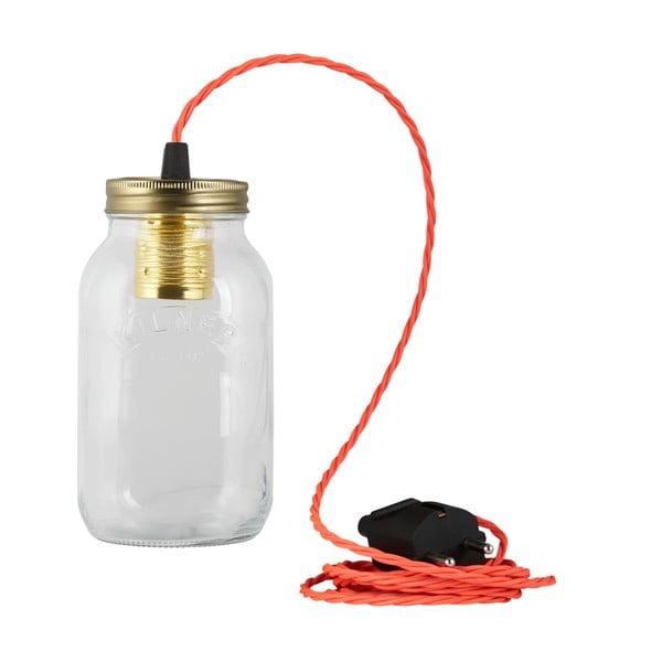 Svítidlo JamJar Lights, zářivě růžový kroucený kabel