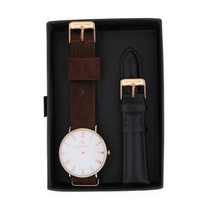 Set tmavě hnědých pánských hodinek s řemínky Black Oak Elegant